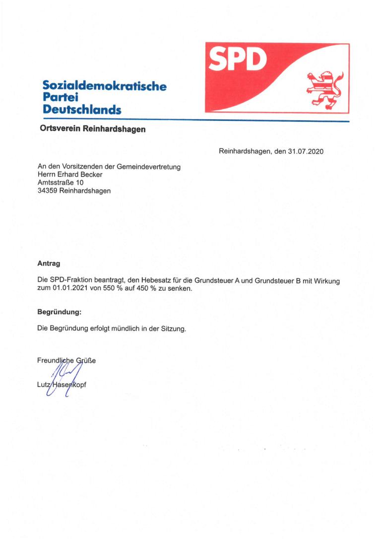 August 2020 SPD Fraktion stellt Antrag auf Grundsteuersenkung